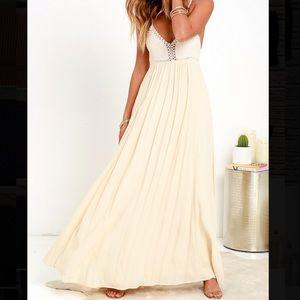 Lulu's Hippie Chic Cream Maxi Dress